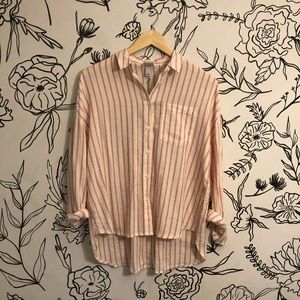 NWT Red and White Striped Flowy Button Up Top